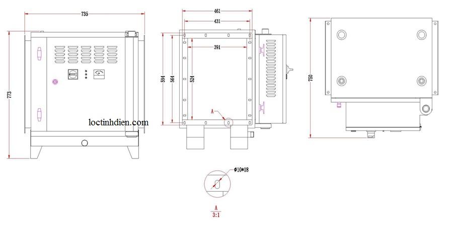 Bản vẽ lọc tĩnh điện khói bếp Model BS 216Q 2K
