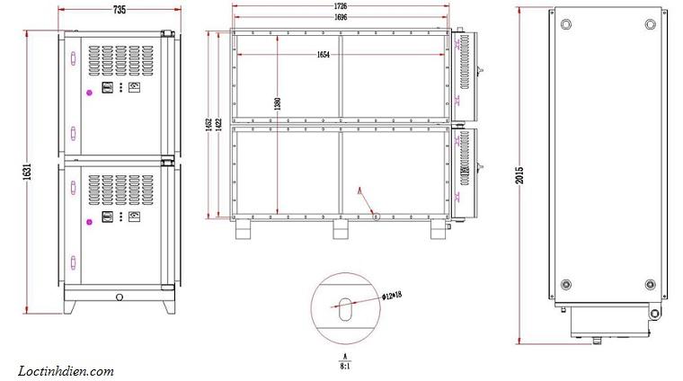 Bản vẽ lọc tĩnh điện ESP Model BS 216Q 20K